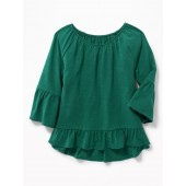 Ruffle-Trim A-Line Top for Girls