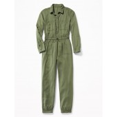 Soft Twill Utility Jumpsuit for Girls