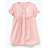 Fit & Flare Roll-Sleeve Shirt Dress for Baby