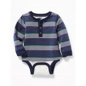 2-in-1 Striped Henley Bodysuit for Baby
