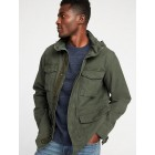 Canvas Built-In Flex Stowaway-Hood Military Jacket for Men