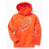 Relaxed Go-Dry Textured-Sleeve Graphic Hoodie for Boys