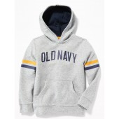 Logo-Graphic Sleeve-Stripe Pullover Hoodie for Boys