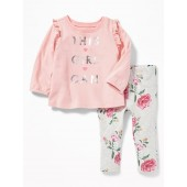 2-Piece Ruffle-Trim Tee and Jeggings Set for Baby