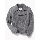 Sweater-Knit Moto Jacket for Girls