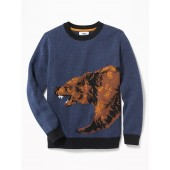 Bear-Graphic Crew-Neck Sweater for Boys