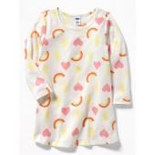 Rainbow-Printed Sleep Dress for Toddler Girls
