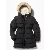 Frost-Free Long Hooded Puffer Jacket for Girls