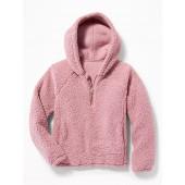 1/4-Zip Sherpa Popover Hoodie for Girls