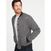 Quilted Sweater-Fleece Bomber Jacket for Men