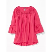 Lace-Yoke A-Line Top for Girls