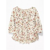 Floral-Print Ruffle-Trim Swing Top for Girls