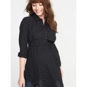 Maternity Tie-Waist Polka-Dot Tunic Shirt