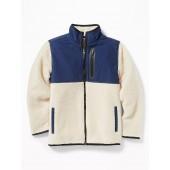 Go-Warm Color-Blocked Sherpa Zip Jacket for Boys