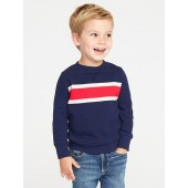 French-Rib Chest-Stripe Pullover for Toddler Boys