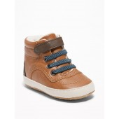 Sherpa-Lined Faux-Leather Sneakers for Baby