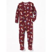 Dog-Print Footed Sleeper for Toddler & Baby