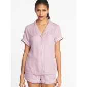 Soft-Twill Button-Front Pajama Top