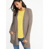 Plush-Knit Long-Line Open-Front Sweater for Women