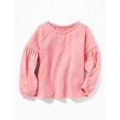 Plush-Knit Jersey Top for Toddler Girls