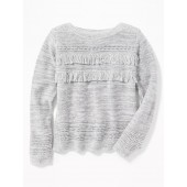 Tiered-Fringe Sweater for Girls