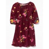 Floral-Print Waist-Defined Dress for Girls
