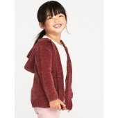 Plush Open-Front Hoodie for Toddler Girls