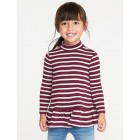 Plush-Knit Mock-Neck Peplum-Hem Top for Toddler Girls