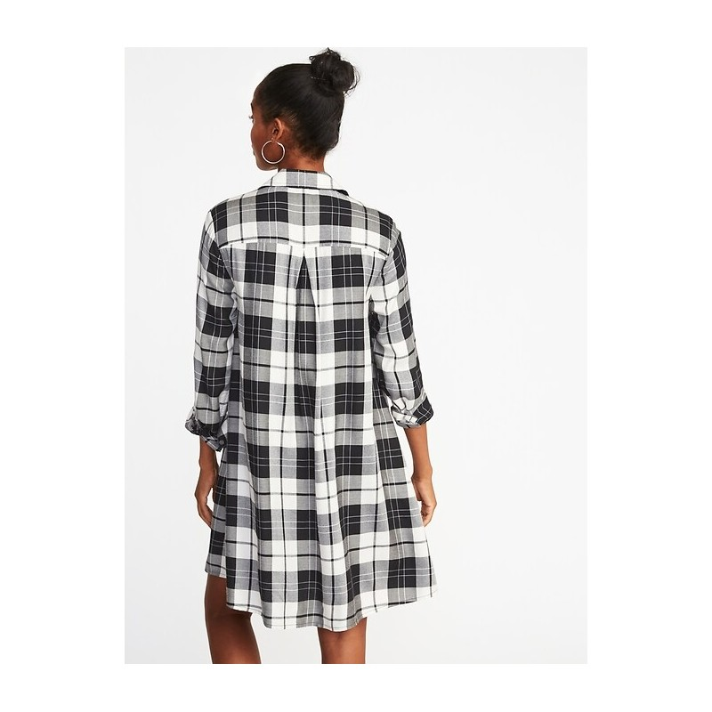 Plaid Swing Shirt Dress for Women