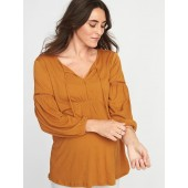 Maternity Crinkle-Jersey Lace-Trim Top