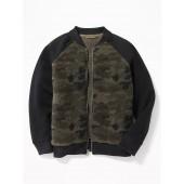 Color-Blocked Sherpa Raglan Bomber Jacket for Boys