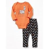Halloween-Graphic Bodysuit & Pants Set for Baby