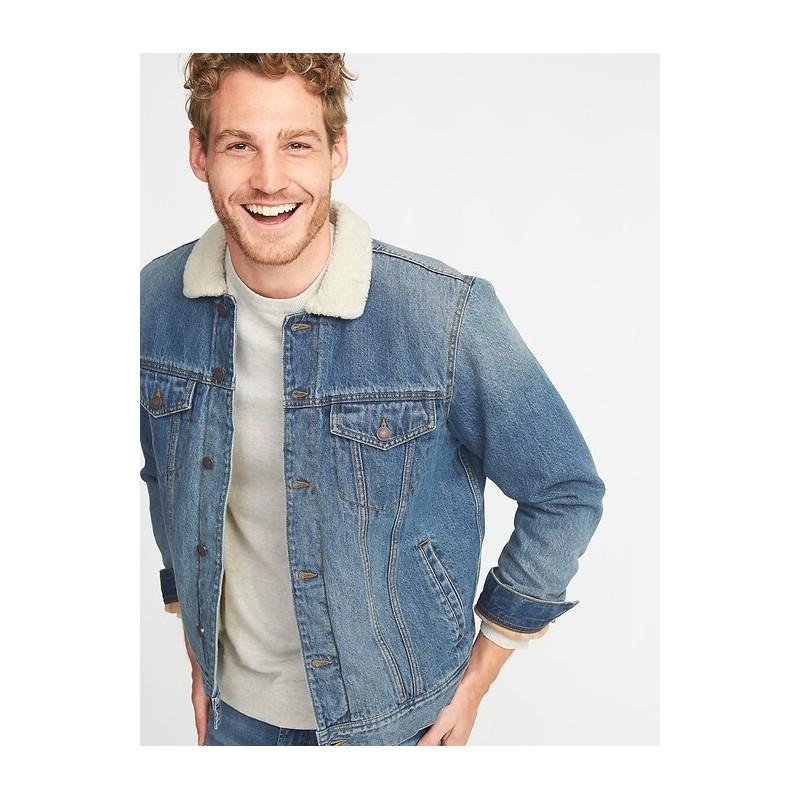 Sherpa-Lined Denim Jacket for Men