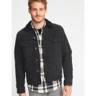 Sherpa-Lined Black Denim Jacket for Men