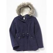 Sweater-Fleece Hooded Parka for Girls