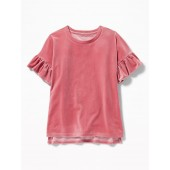 Ruffle-Sleeve Velvet Top for Girls