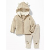 2-Piece Fleece Bear-Critter Hoodie and French-Terry Leggings Set for Baby