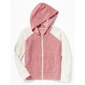 Slub-Knit Raglan-Sleeve Zip Hoodie for Girls