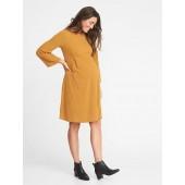 Maternity Rib-Knit Bell-Sleeve A-Line Dress