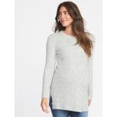 Maternity Plush Rib-Knit Tunic Sweater
