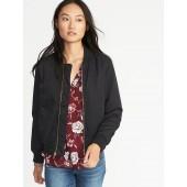 Satin Zip Bomber Jacket for Women