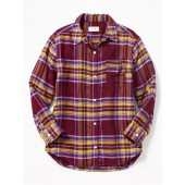 Boyfriend Button-Front Plaid Tunic for Girls