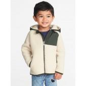 Hooded Color-Block Sherpa Jacket for Toddler Boys