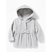 Hooded Bow-Front Velour Coat for Baby