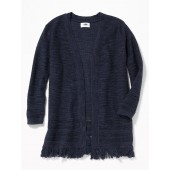 Relaxed Open-Front Fringed-Hem Sweater for Girls
