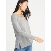 Maternity Relaxed Plush-Knit Side-Slit Nursing Top