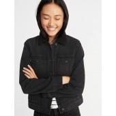 Sherpa-Lined Black Denim Jacket for Women