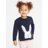 Split-Hem Crew-Neck Critter Sweater for Toddler Girls