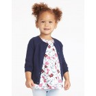 Button-Front Crew-Neck Cardi for Toddler Girls