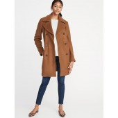 Double-Breasted Long Peacoat for Women